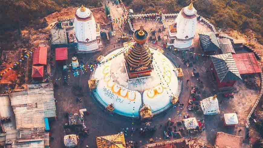 Bird's eye view of stupa